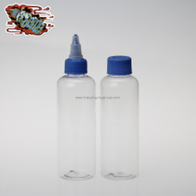 HD transparent 120ml plastic blue twist off cap bottle